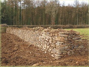 A newly-constructed Cornish hedge on Deer Park Farm.